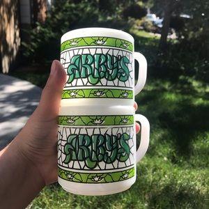 Vintage Federal Milk Glass ARBY'S coffee mugs